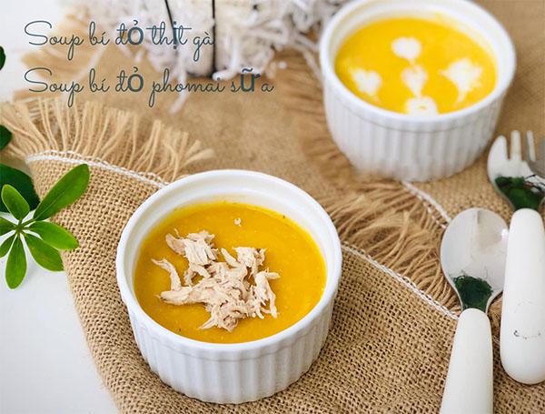 Soup bí đỏ, Yến mạch & thịt gà hoặc phô mai sữa cho bé 7 thắng